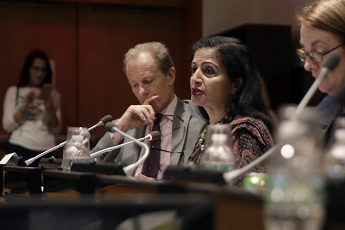 UN Women Deputy Executive Director Lakshmi Puri speaks at the Documenting, Investigating and Prosecuting Conflict-related Sexual and Gender-based Violence: The Case of Syria and Iraq event in New York. Photo: UN Women/Jodie Mann
