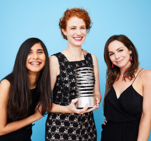 "Official Webby portrait for ""Justice Now."" From left: Jaya Jiwatram, (UN Women), Emily Kenney (UN Women), and Hannah Dunphy (JRR)"