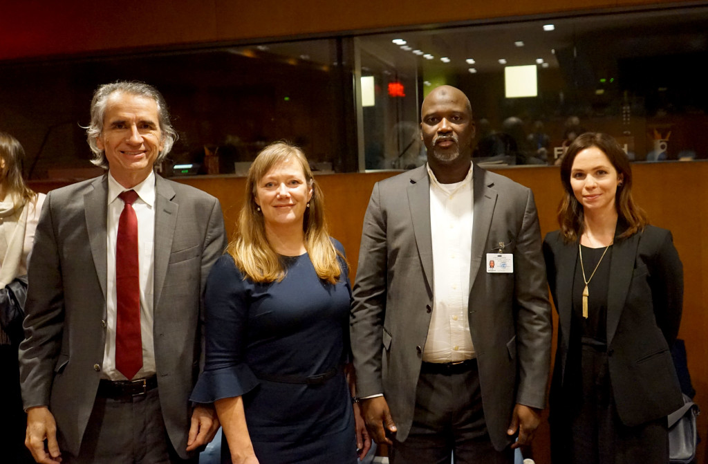From left: JRR Forensic Expert Dr. Samuel Ferreira; JRR Executive Director Nina Suomalainen; Attorney General Tambadou of The Gambia; and JRR Communications and External Relations Officer Hannah Dunphy.